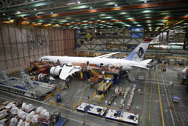 A Boeing 787 is pictured at Boeing's production facility in Everett, Washington