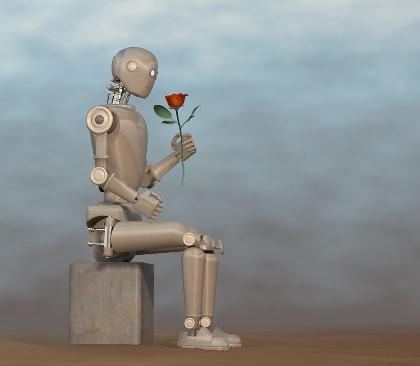 robot smelling flower