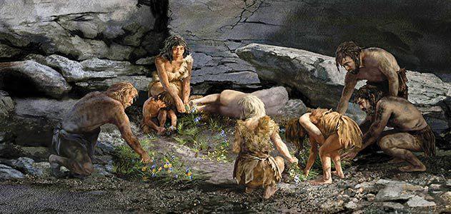 smithsonian mag neanderthal-burial-scene-Shanidar-cave