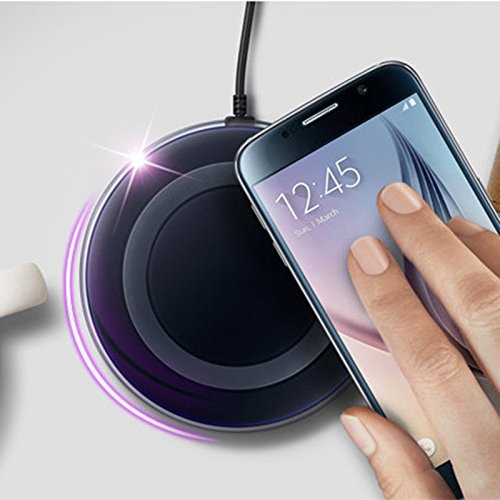 Portable Qi Wireless Charging Pad, External Wireless Charger + Qi Ultra Slim Wireless Charging Receiver Patch Module Card for IPhone 5/5c /5s/6/6s/6 Plus/6S plus(M2 Black)-549