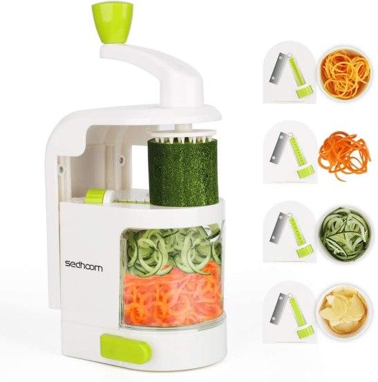Sedhoom Coupe légumes Spirale ménager avec 4 Lames, Foldable Spiraliseur de légumes