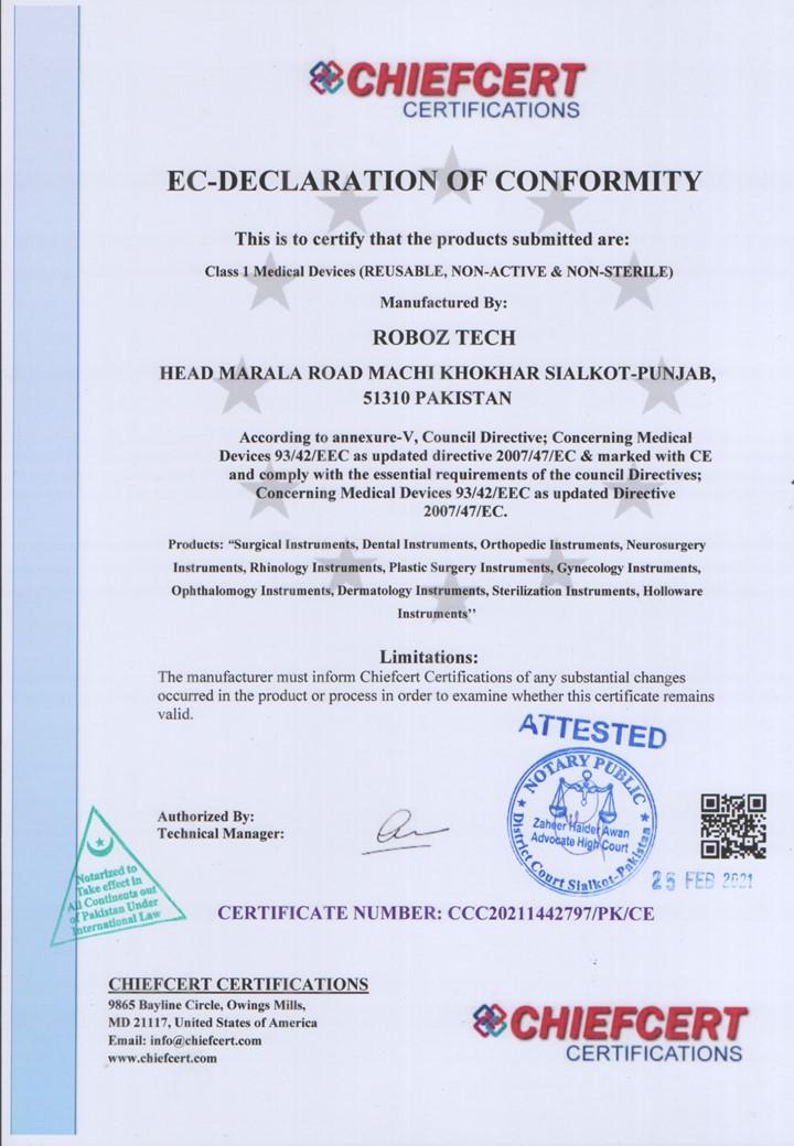 EC DEC Declaration of Conformity Approved