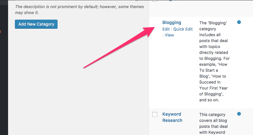 entering Category descriptions in WordPress