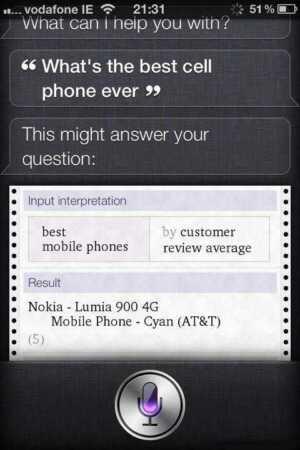 Per Siri il miglior smartphone è il Nokia Lumia