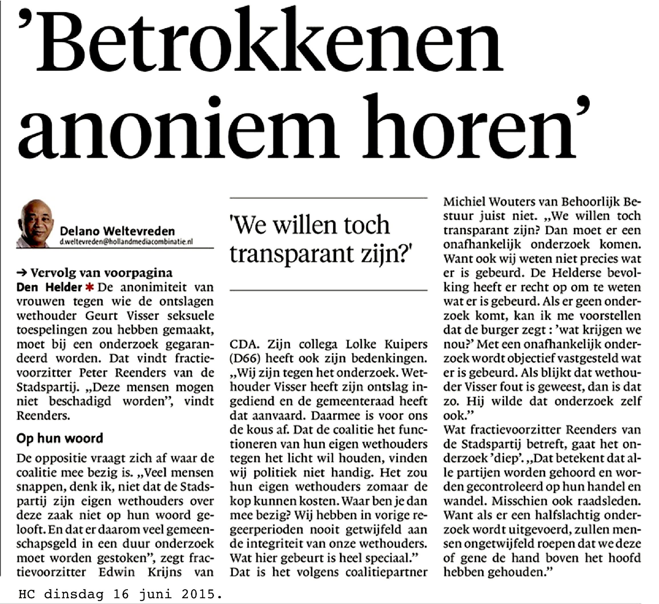Delano Tevreden – 'Betrokkenen anoniem horen' (Helderse Courant,16 juni 2015)