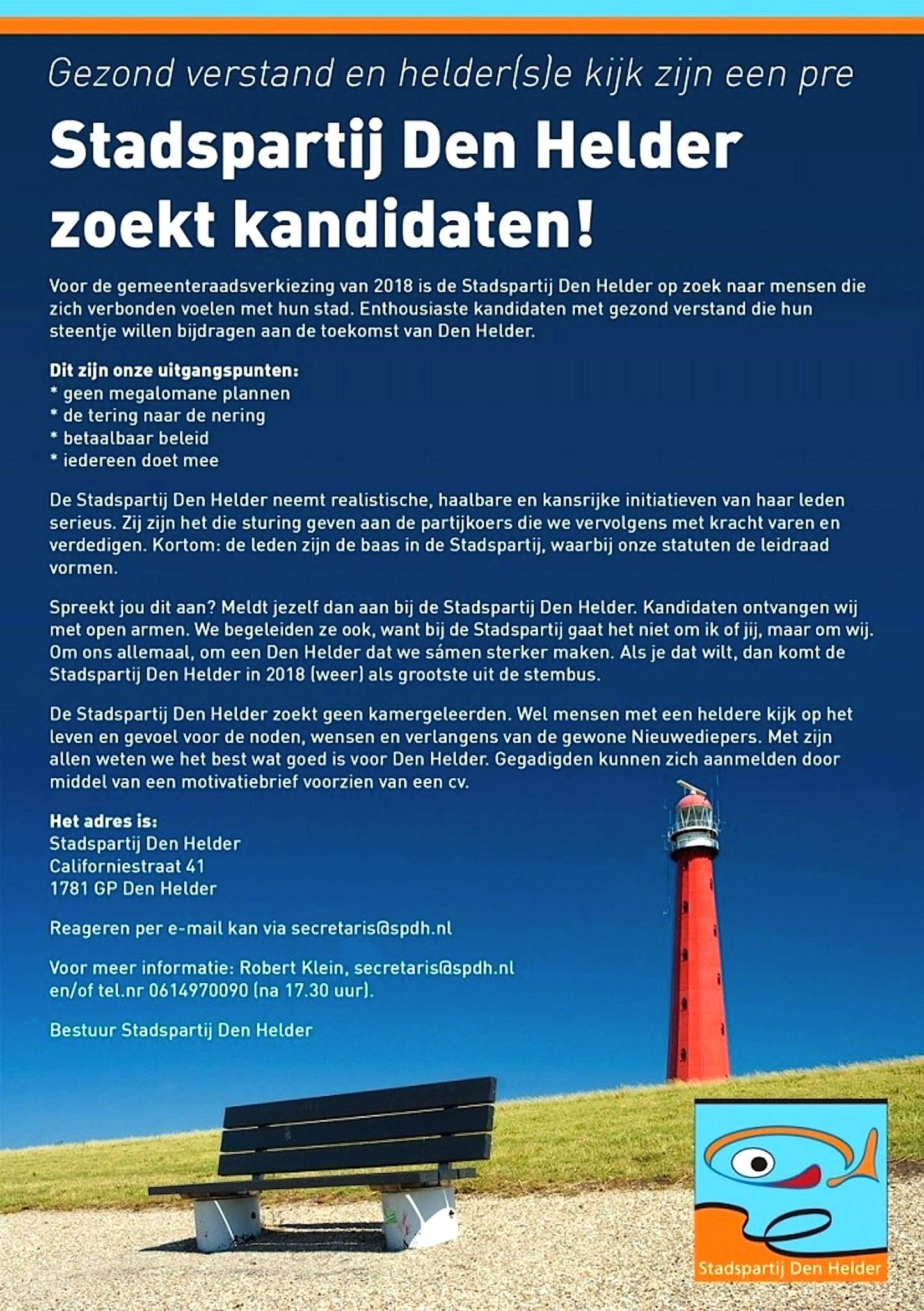 Stadspartij Den Helder zoekt kandidaten!