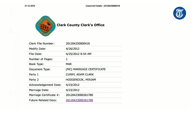 Clark County Clerk's Marriage Certificate #20120423000261780, 27 december 2016