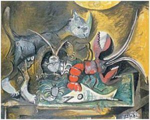 Pablo Picasso - Stilleven met kat en vissen