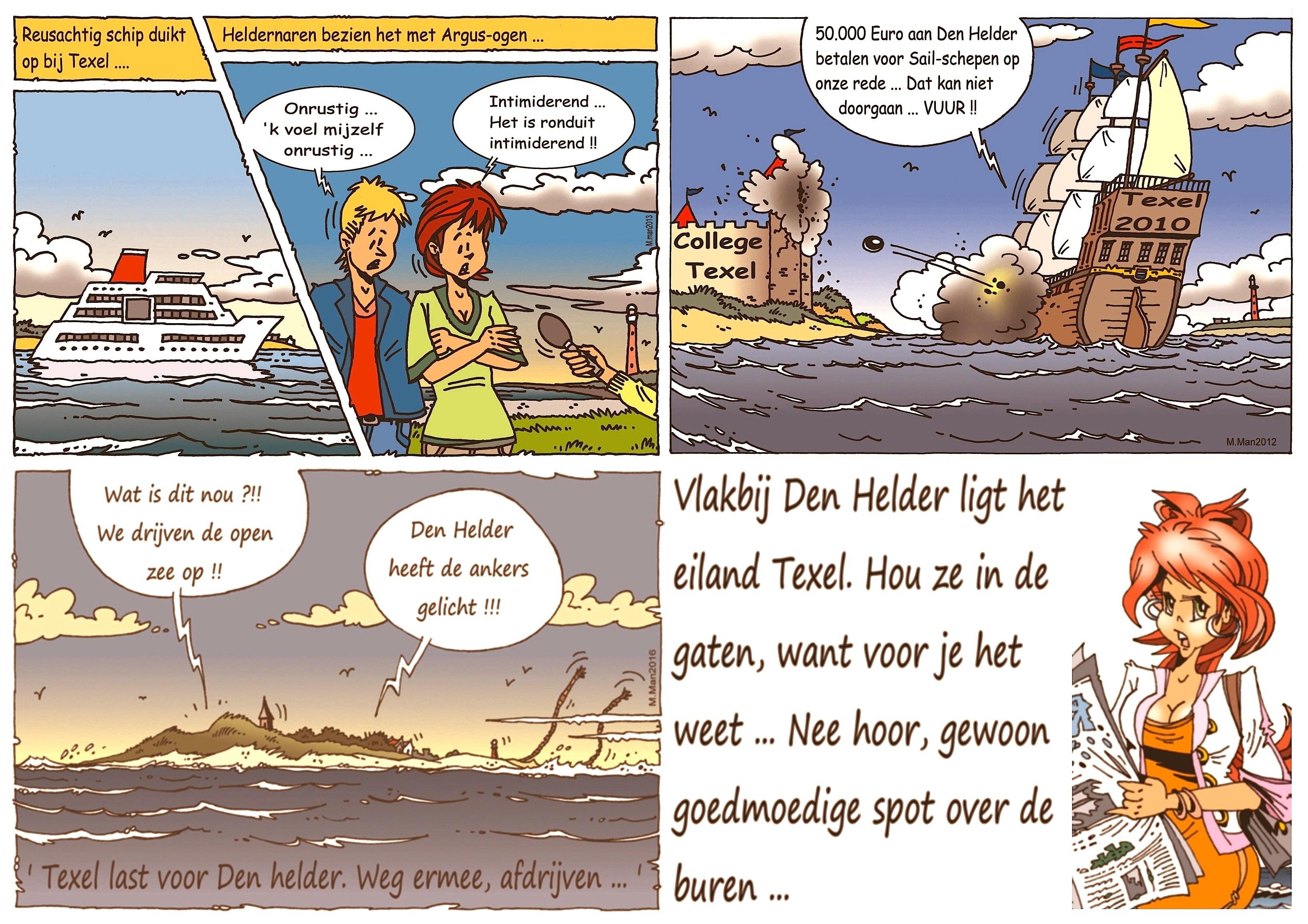 Martin Man – Sofietje's Helders Weekblad Cartoon-Chronicles (49): Vlakbij Den Helder ligt het eiland Texel