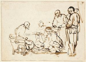 Rembrandt van Rijn - Jezus wast voeten van Petrus (foto Behoud Blauwe Golven Arnhem)