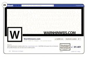 Abbildung 25 Facebook-Seite von WARNHINWEIS.COM