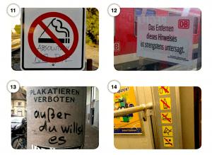 Abbildungen 11–14 Hacks von Warn- und Hinweisschildern im urbanen Raum