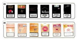 Abbildungen 29-30 Zum Verwechseln ähnliche Zigarettenschachtel-Design