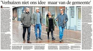 Bo-Anne van Egmond - 'Verhuizen niet ons idee, maar gemeente', Helderse Courant, 3 februari 2018
