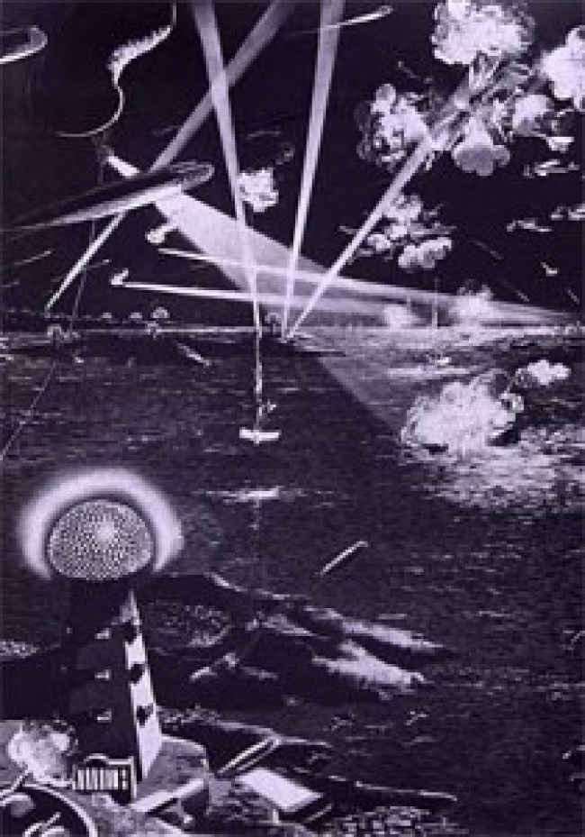 Illustration of Tesla's Wardenclyffe Tower fending off airships