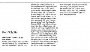 Lambertha de Vries-Post - Rob Scholte, Helderse Courant, 10 maart 2018