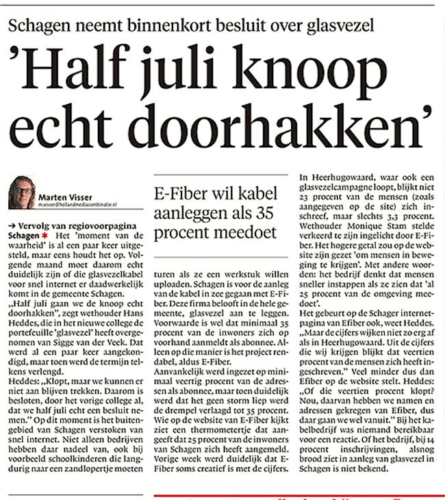 Marten Visser - 'Half juli knoop echt doorhakken', Schager Courant, 2 juli 2018