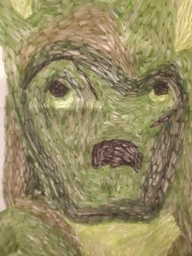 Cora de Kok – Vrouw met hond (detail). Goed is te zien dat de hond helemaal met kettingsteken is geborduurd
