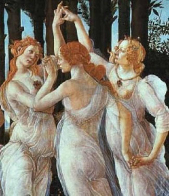 Sandro Botticelli - De drie Gratiën (detail van La Primavera)