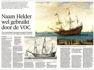 René Schendelaar - Naam Helder wel gebruikt door de VOC, Helderse Courant, 22 november 2018