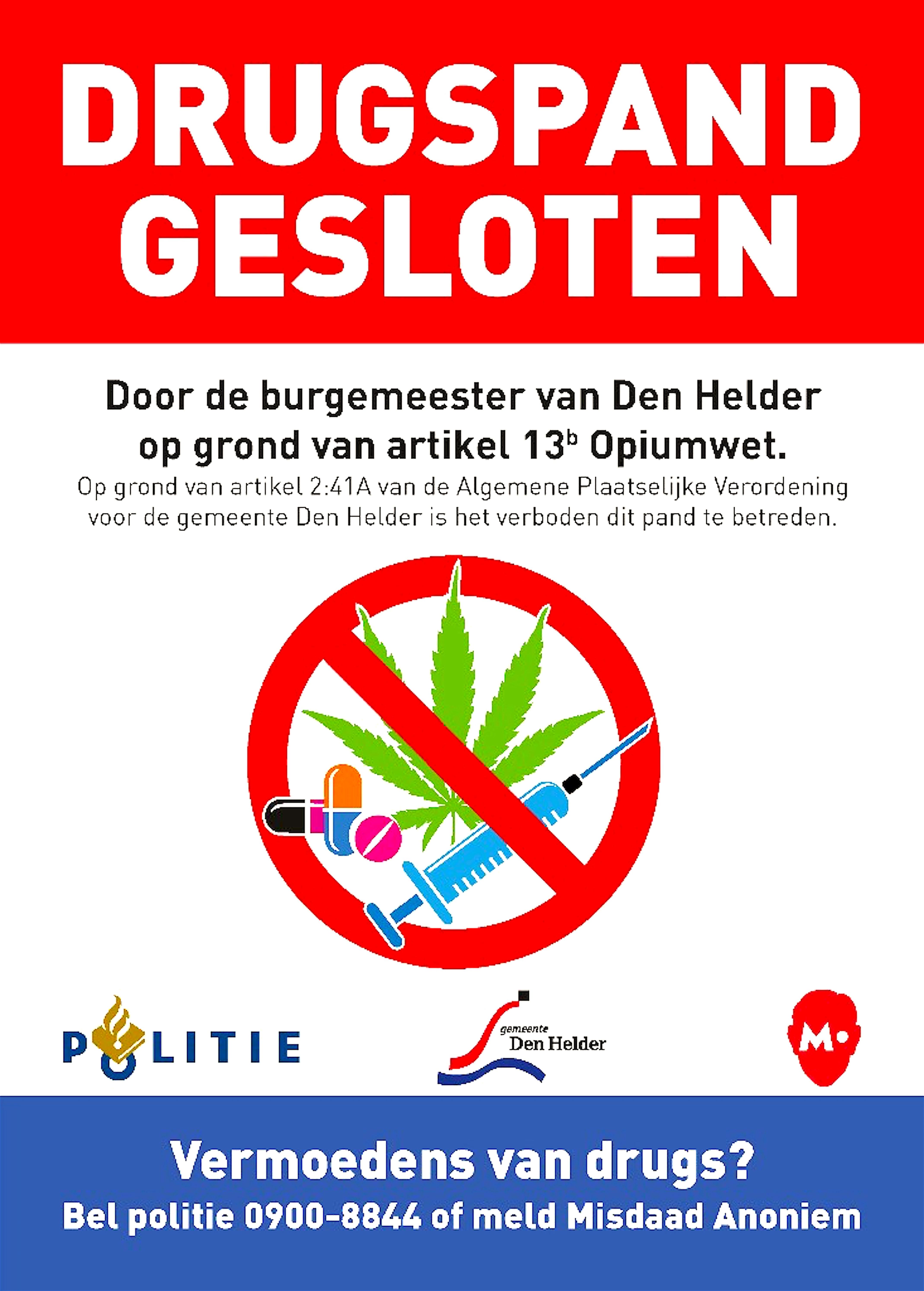 Drugspand gesloten (foto Den Helder Actueel)