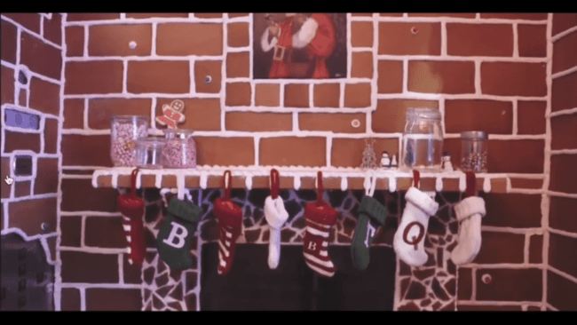 Gingerbread elevator with stockings from the Q-team