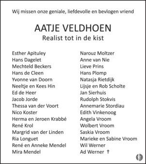 Overlijdensbericht Aat Veldhoen 3 (foto Mensenlinq.nl)