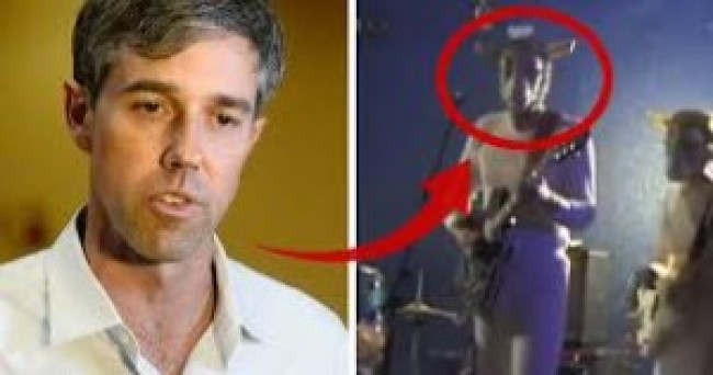 Beto O'Rourke dressed up as a sheep headed demon playing some garbage music (foto Before It's News)