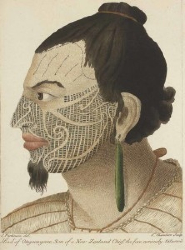 Sydney Parkinson - Head of Otegoowgoow, son of a New Zealand Chief, from the book A Journal of a Voyage to the South Seas, in his Majesty's Ship the Endeavour (1784), Te Papa (foto art net News)