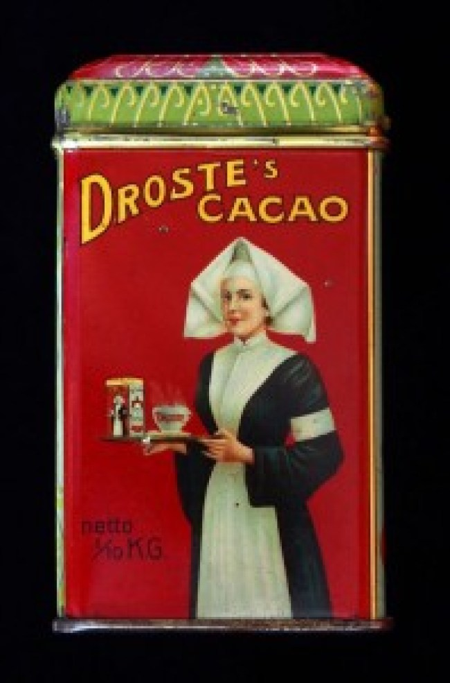 The original 1904 Droste cacao tin, designed by Jan Misset (foto Wikimedia Commons)