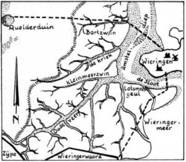 Een tekening van de vroegere situatie (foto Helderse historische vereniging)