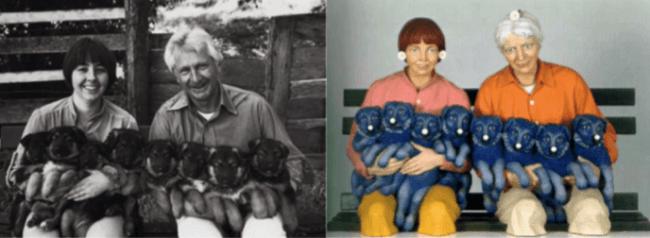 Links de originele foto door Art Rogers, rechts de bewerking door Jeff Koons (foto Finnian & Columba)
