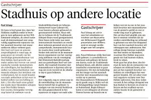 Paul Schaap - Stadhuis op andere locatie, Helderse Courant, 2 februari 2019