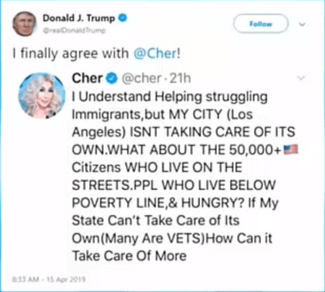 Trump tweet (foto Hannity)