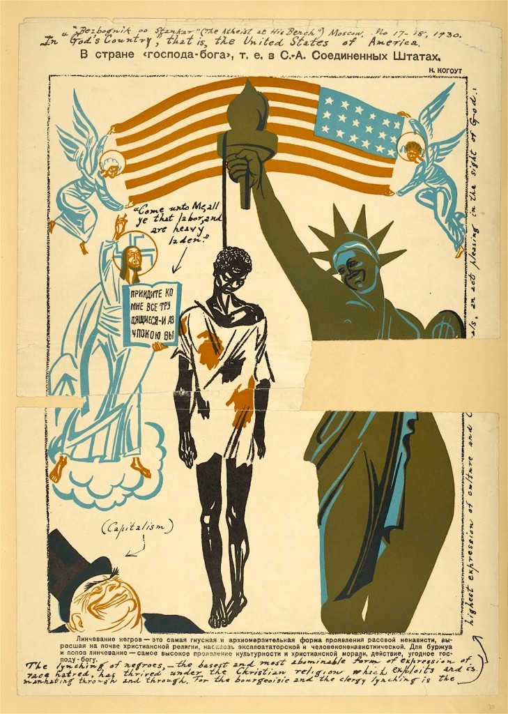 Soviet Union took advantage of racial tensions in the United States to create anti-American propaganda (1930 Soviet poster, foto Wikimedia)