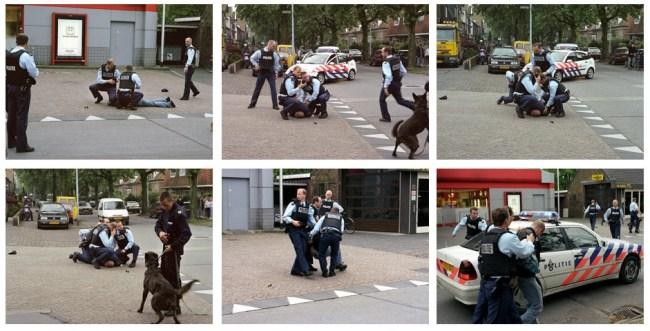 Figuur 2 Arrestatie Volkert van de Graaf (foto A. Marks, de enige reeks foto's, die hij ooit gemaakt lijkt te hebben |Ton Kastermans)