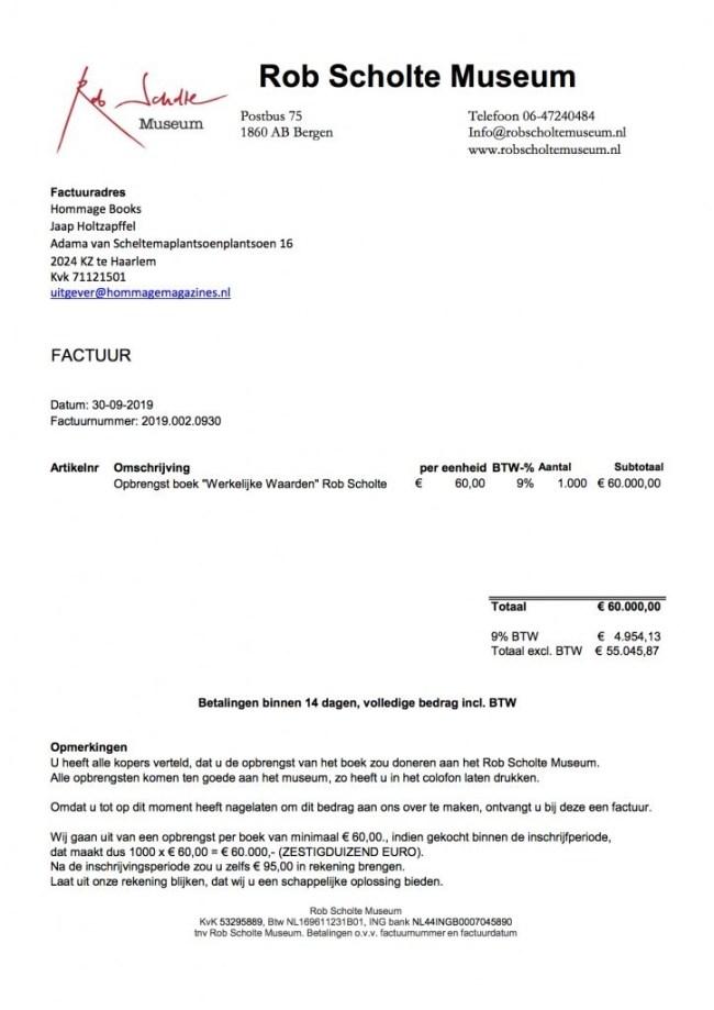 Factuur 2019.002.0930 van Rob Scholte Museum aan Jaap Holtzapffel:Hommage Books