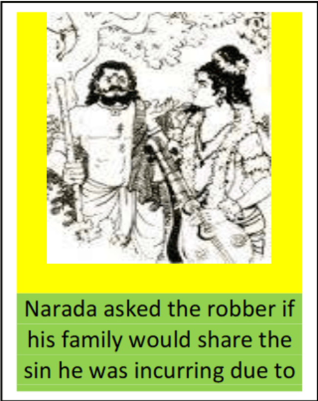 Narada asked the robber if his family would share the sin he was incurring due to (foto iaiar.org)