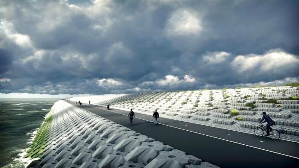 De Afsluitdijk met de nieuwe bekleding (foto Rijkswaterstaat)