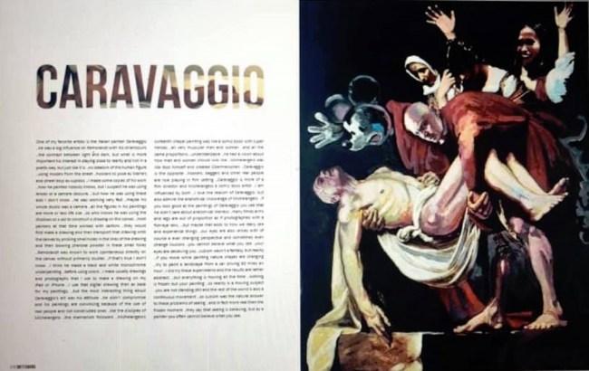 Caravaggio, pagina's uit Klashorsts Dirty Diaries, uitgegeven door Jaap Holtzapffel (foto Facebook)