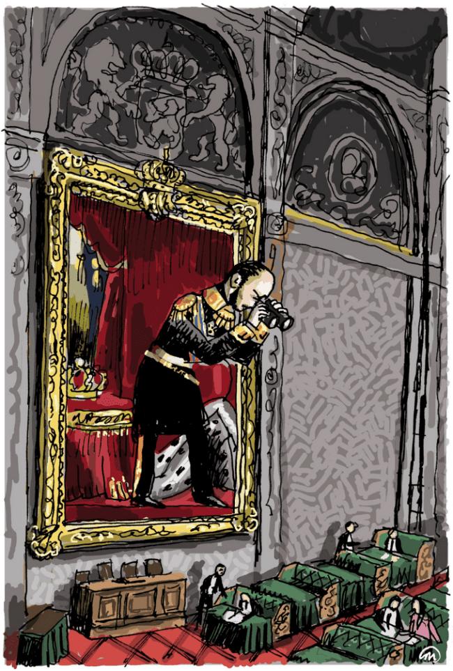 Onder toeziend oog van Willem II (foto Groene Amsterdammer)