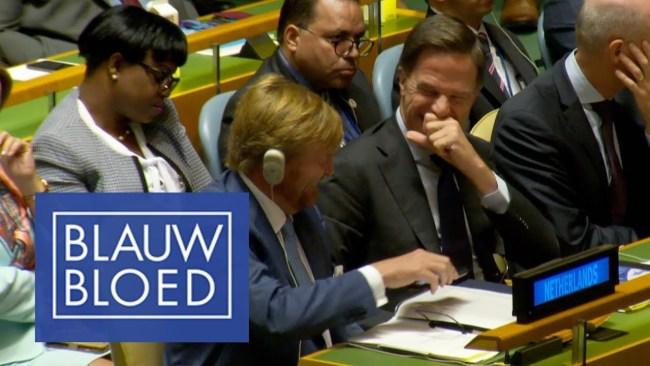 Blauw bloed, Rutte lacherig onderonsje met Koning Willem tijdens de UN speech van Donald Trump (foto AD)