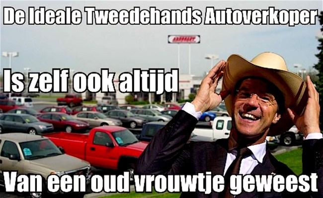 De ideale tweehands autoverkoper (foto GeenStijl)