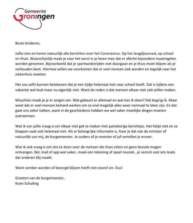 Gemeente Groningen | Koen Schuiling - Brief aan de kinderen (foto Twitter)