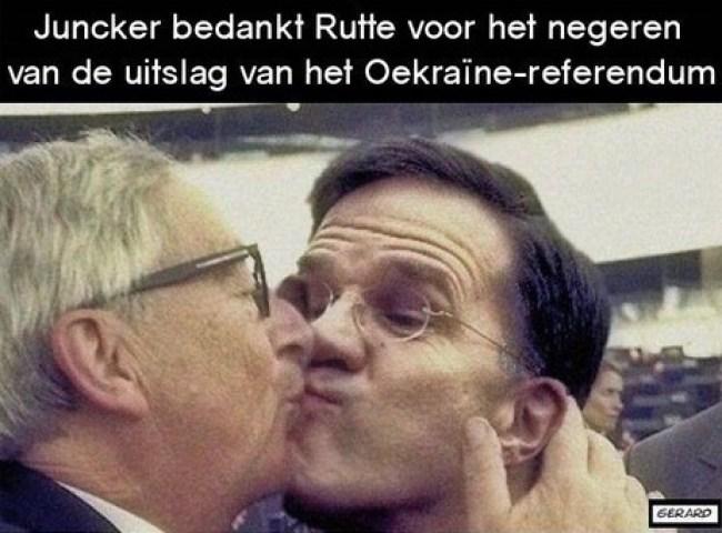 Juncker bedankt Rutte voor het negeren van de uitslag van het Oekraïne referendum (foto eunmask)