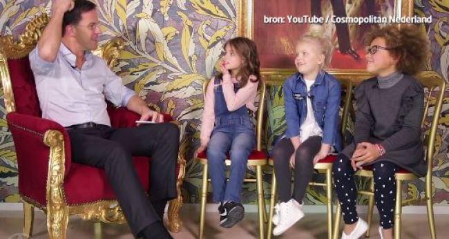 Kinderen vragen Rutte hem van het lijf (foto Shownieuws)