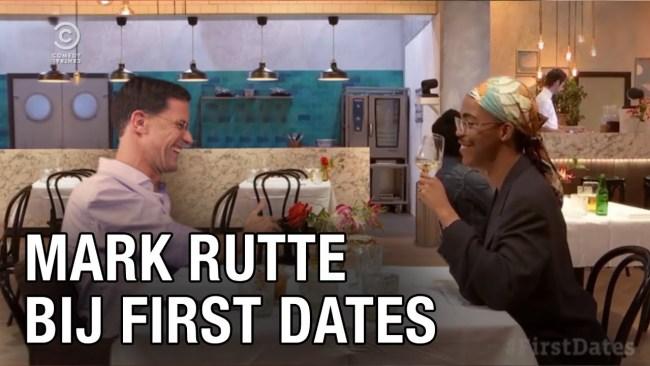 Mark Rutte bij First Dates (foto YouTube)