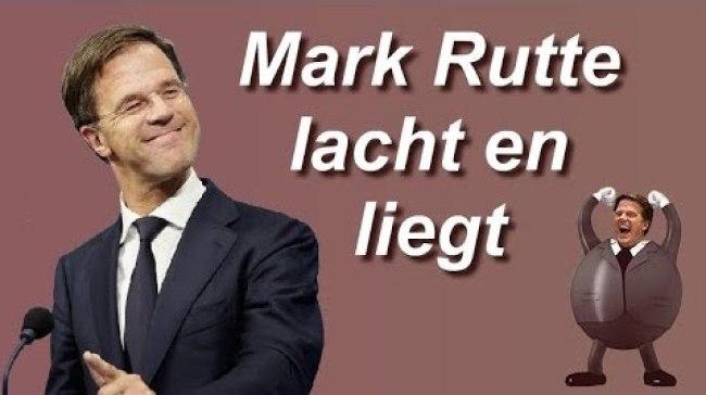 Mark Rutte lacht en bedriegt (foto Stop de Bankiers)
