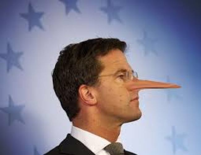 Minister President Mark Rutte als Pineukio The Lying dutchman (foto Twitter)