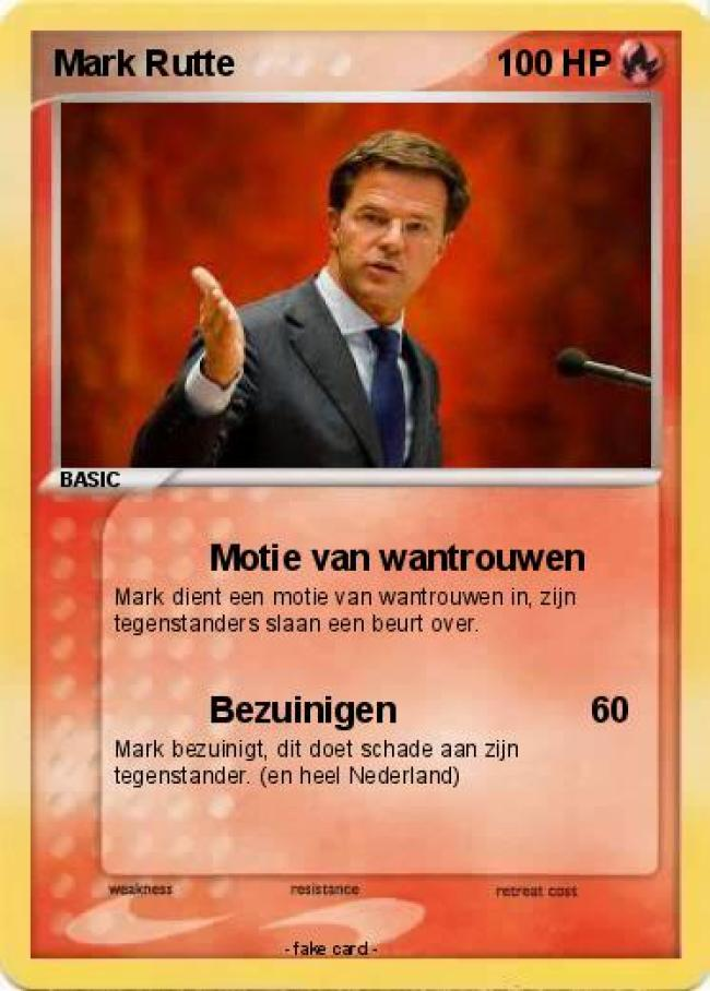 Motie van wantrouwen (foto Pokemon Mark Rutte (foto My Pokemon card)